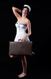 Marinero joven con la maleta Fotografía de archivo libre de regalías
