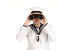 Marinero joven con los prismáticos Fotos de archivo libres de regalías