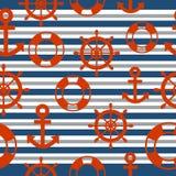 Marinero Seamless Pattern con el fondo Imagen de archivo libre de regalías