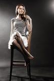 Marinero Woman en chaleco rayado Imagenes de archivo