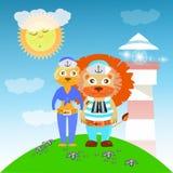 Marineros del león y de la leona del faro ilustración del vector