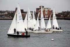 Marineros hacia fuera en el puerto de Boston, el 1 de marzo de 2014 Imágenes de archivo libres de regalías