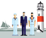Mariners stood on a coastline. Illustration of three sailors or mariners stood on the coastline with a yacht and lighthouse in the background stock illustration