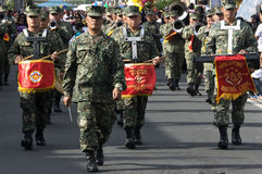 The Marines. Picture of a parade during a town annual fiesta in Silang Cavite Philippines. Many tourists watch this with excitement because of the intense Stock Images