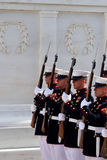 Marines at Arlington National Cemetery. Marines in dress uniform with bayoneted rifles during a ceremony at the Tomb of the Unknown Soldier at Arlington National royalty free stock images