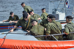 Marines on a boat preparing to dropping Stock Photography