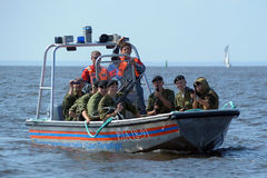 Marines on a boat preparing to dropping Royalty Free Stock Photos