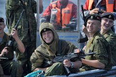 Marines on a boat preparing to dropping Royalty Free Stock Photography