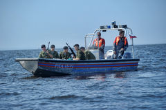 Marines on a boat preparing to dropping Royalty Free Stock Image