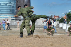 Marines demonstrate martial arts techniques Royalty Free Stock Photography