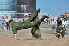Marines demonstrate martial arts techniques Stock Image