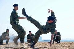 Marines demonstrate martial arts techniques Stock Images