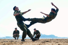 Marines demonstrate martial arts techniques Royalty Free Stock Images