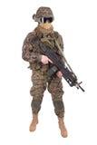 MARINES des USA avec la mitrailleuse M249 photo libre de droits