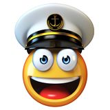 Marines hat emoji isolated on white background, admiral emoticon wearing navy cap 3d rendering. Illustration Stock Photos