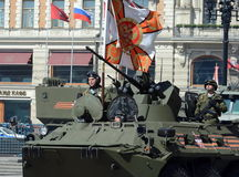 Marines in honor rehearsal of the Victory parade in Moscow on the BTR-82A (deep modernization of BTR-80) Royalty Free Stock Images
