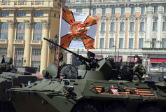Marines in honor rehearsal of the Victory parade in Moscow on the BTR-82A (deep modernization of BTR-80) Royalty Free Stock Photo