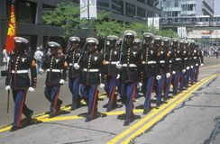 Marines Marching in United States Army Parade, Chicago, Illinois Stock Images