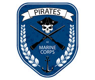 Marines military emblem patch with scull and guns, ribbon, anchor and laurel branch Royalty Free Stock Photo