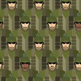 Marines seamless pattern. Soldiers in helmets and bullet-proof v Royalty Free Stock Images