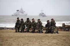 Marines sur la plage Photographie stock libre de droits
