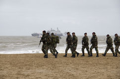 Marines sur la plage Photographie stock
