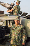 Marines and tank in military parade of Royal Thai Navy, Naval Base, Chonburi, Thailand Royalty Free Stock Photography