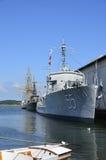 Marineschepen bij het Maritieme Museum in Karlskrona, Zweden Stock Foto's