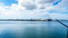 Marineschepen in Parelhaven worden vastgelegd, Hawaï dat royalty-vrije stock afbeeldingen