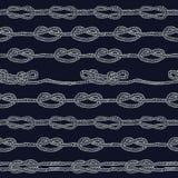 Marineseil und Marineknoten streiften nahtloses Muster Stockbild