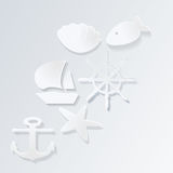 Marinevektorikonen mit Schatten Lizenzfreie Stockfotografie