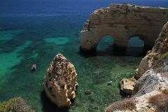 Marinha beach cliffs, Algarve Stock Photography