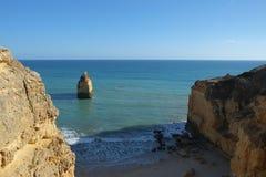 Marinha beach with its beautiful cliffs scenery in Lagoa stock photo
