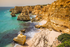 Marinha Beach, located on the Atlantic coast in Portugal,Algarve Royalty Free Stock Photo