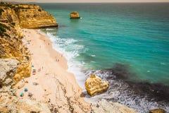 Marinha Beach, located on the Atlantic coast in Portugal,Algarve.  Royalty Free Stock Photography