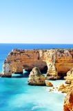 Marinha Beach,  located on the Atlantic coast Royalty Free Stock Photo