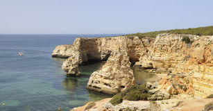 Marinha Beach Panorama, Algarve Stock Photos