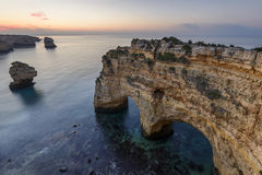 Marinha beach a wonder in the Algarve. Algarve beaches are the largest tourist attraction in southern Portugal. Paradisiacal beaches bathed by the Atlantic Ocean Royalty Free Stock Photography