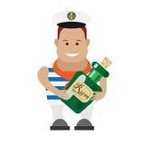 Marinheiro com a garrafa do rum Fotografia de Stock Royalty Free