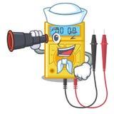 Marinheiro com os brinquedos binoculares do multímetro digital na forma dos desenhos animados ilustração stock