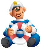 Marinheiro com um lifebuoy Ilustração do Vetor
