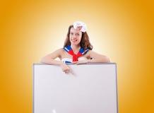 Marinheiro da jovem mulher no conceito marinho Imagem de Stock