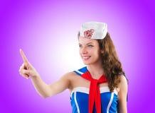 Marinheiro da jovem mulher no conceito marinho Imagens de Stock Royalty Free