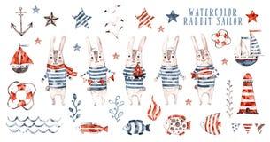 Marinheiro do coelho da aquarela, grupo do marinheiro dos desenhos animados imagem de stock royalty free