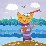 Marinheiro do gato na praia com um navio Imagens de Stock