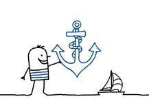Marinheiro e escora ilustração stock