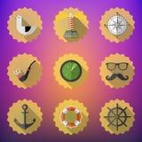 Marinheiro Marine Flat Vetora Icon Set da marinha Inclua o rada da sonar dos peixes Imagens de Stock