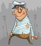 Marinheiro masculino engraçado dos desenhos animados na roupa áspera Imagens de Stock