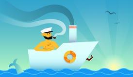 Marinheiro no barco Imagens de Stock Royalty Free