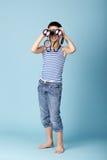 Marinheiro pequeno com binóculos Imagem de Stock
